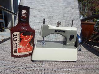 Vintage Necchi Supernova Italy Tiny Hand Crank Sewing Machine W/case photo