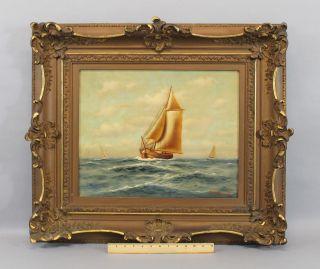 1911 Antique Richard De Ribcowsky Marine Sailing Ship Seascape Oil Painting photo