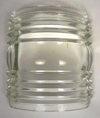 Antique Perkins Marine Lamp Corp.  No 2 Clear Glass Fresnel Lens 135 Deg X 4 - 1/4