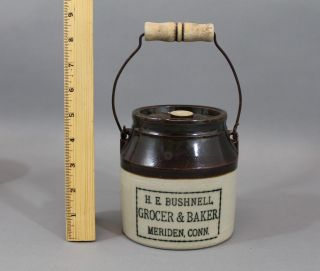 Antique 20thc E.  Swasey & Co Advertising Oyster Jar Crock,  Bail Handle photo