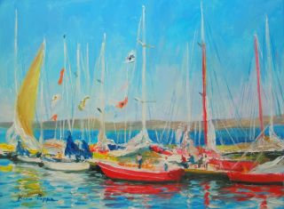Well Listed American Artist Oil Painting Yachts In Wicklow Ireland Nr photo