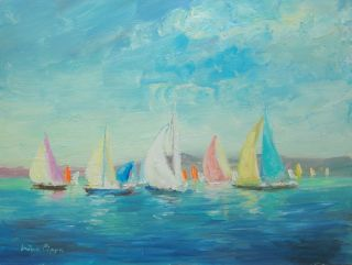 Well Listed American Artist Oil Painting Ireland Wicklow Yacht Race Nr photo