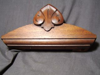 Small Renaissance Walnut Furniture Pediment Carved Victorian Cabinet Crest 1870s photo