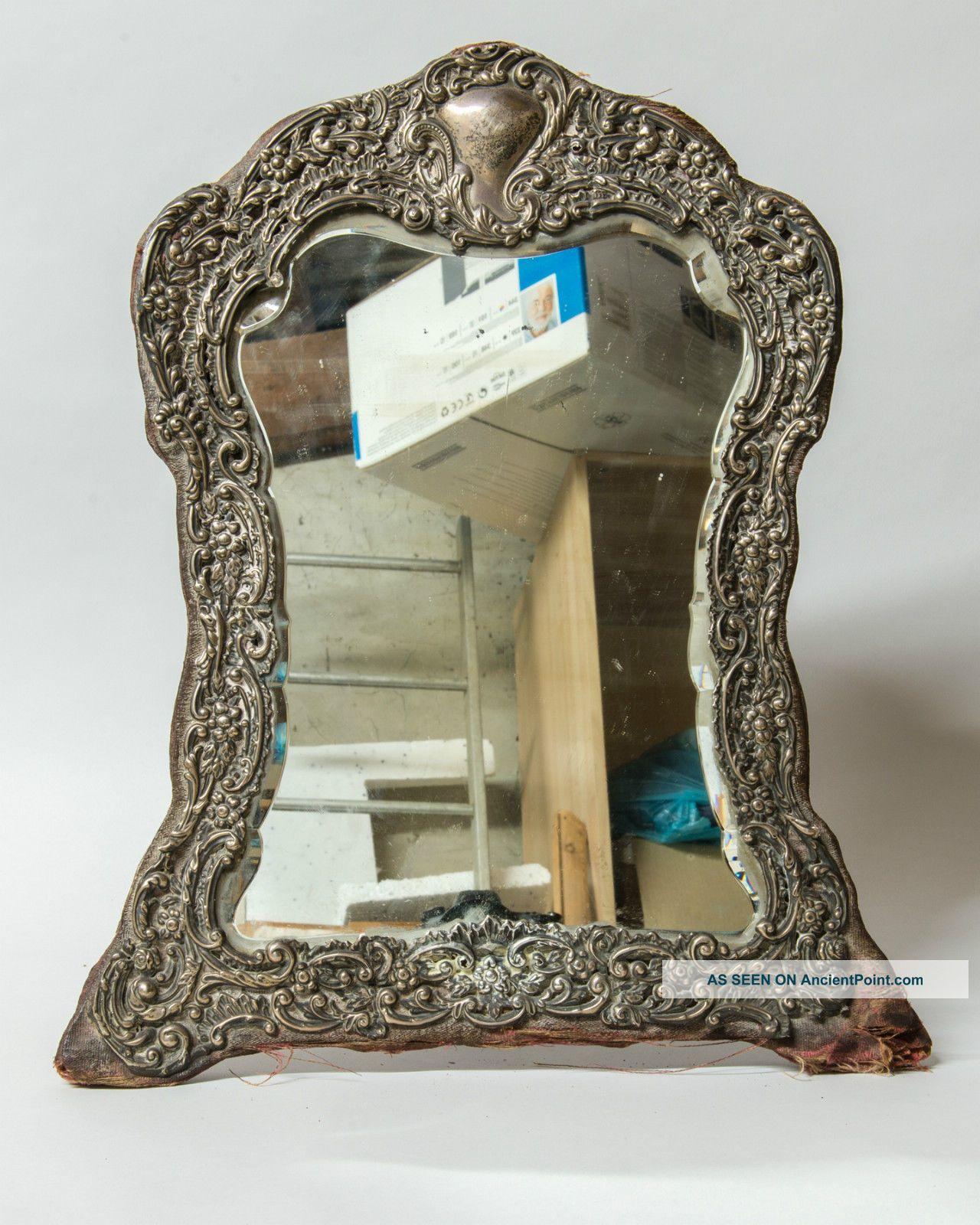 Hallmarked Silver Bevelled Easel Mirror Edwardian Birmingham 1902 Henry Matthews Mirrors photo
