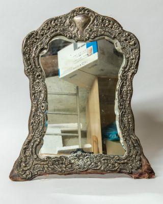 Hallmarked Silver Bevelled Easel Mirror Edwardian Birmingham 1902 Henry Matthews photo