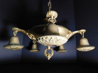 1920 ' S Antique Art Deco Brass 5 Light Bare Bulb Chandelier Ceiling Fixture Lamp photo