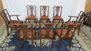 Chippendale Dining Room Chairs Mahogany Claw Foot Vintage Eight photo