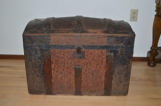 Antique Wood Storage Traveling Trunk Metal Work Design Leather Handles photo