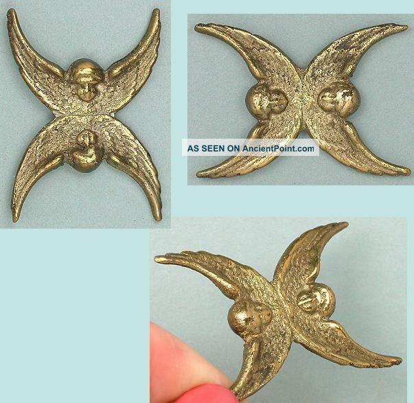 Antique Brass Angels / Cherubs Thread Winder Circa 1890 Other Antique Sewing photo