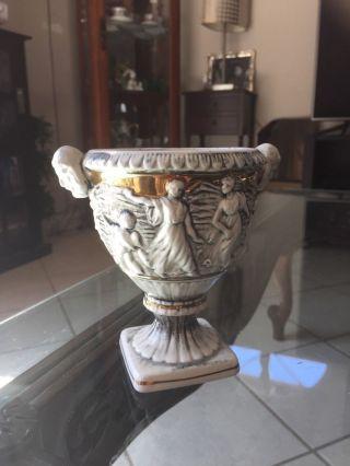 Greek Style Gold Gilt Vintage Antique Decor Porcelain Urn Vase Numbered 777 photo