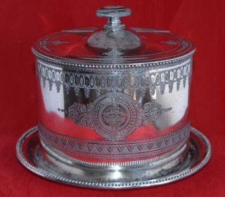 C19th James Dixon & Sons Antique Silver Plate (epbm) Etched Biscuit Barrel photo