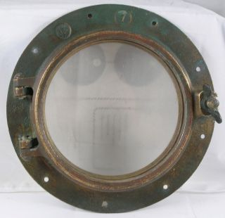 Antique Bronze Porthole,  Salvaged Porthole Nautical Wc 7 Porthole photo