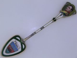 800 Silver & Enamel Souvenir Spoon Napoleon Bonaparte Portrait Paris Nr 13 photo