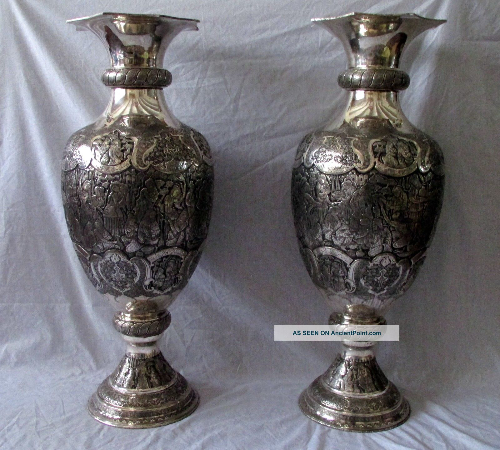Museum Antique Islamic Persian Silver Vases Marked 84 Poetic Verses Middle East photo