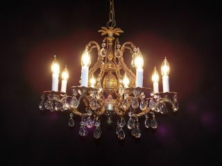 Antique Ornate French Brass & Crystal Pineapple 8 - Lite Chandelier photo