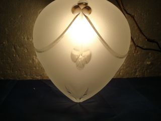 Antique Hanging Lamp And Shade Old Vintage photo