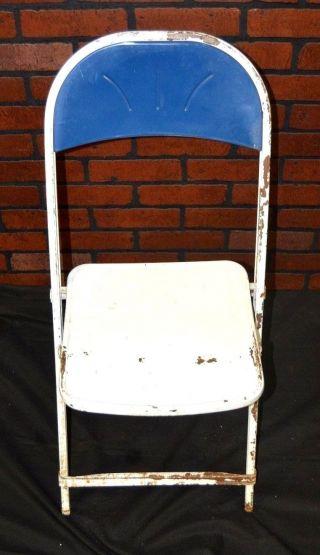 1 Vtg Steampunk/industrial/retro Decor 1950 - 60 ' S Metal Folding Card Table Chair photo