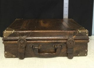 Brown Travel Case Suitcase Old Deco Antique photo