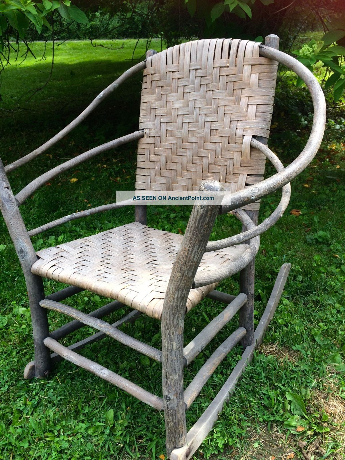 Old Hickory Chair Company Rustic Wicker Grey Wood Hoop