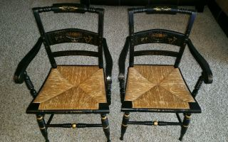 Two Authentic Black Rush Hitchcock Chairs photo
