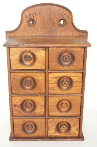 Turn Of The Century Spice Rack Spice Cabinet 8 Drawer Wooden American photo