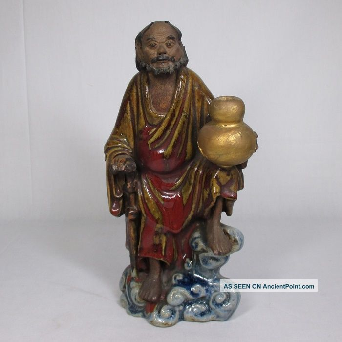 D875: Chinese Pottery Ware Hermit Statue As Incense Burner. Buddha photo