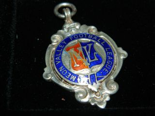 Vintage Solid Silver & Enamel Football Medal Meon Valley Football League 1946 photo