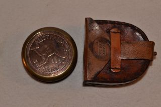 Australian 1930 Penny Brass Compass With Leather Case - Handmade photo