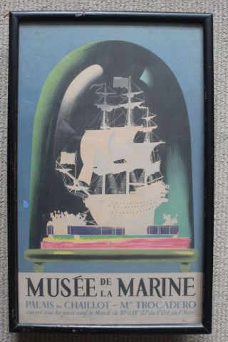 Framed Vintage Nautical Marine Poster/musee De La Marine/paris/1930s - 40s photo