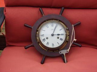 Vintage Ornate Schatz & Sohne German Nautical Brass Portal Ships Wheel Clock photo