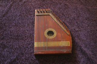 Vintage Antique Oscar Schmidt Wood Zither Harp String Instrument - Made In Usa photo