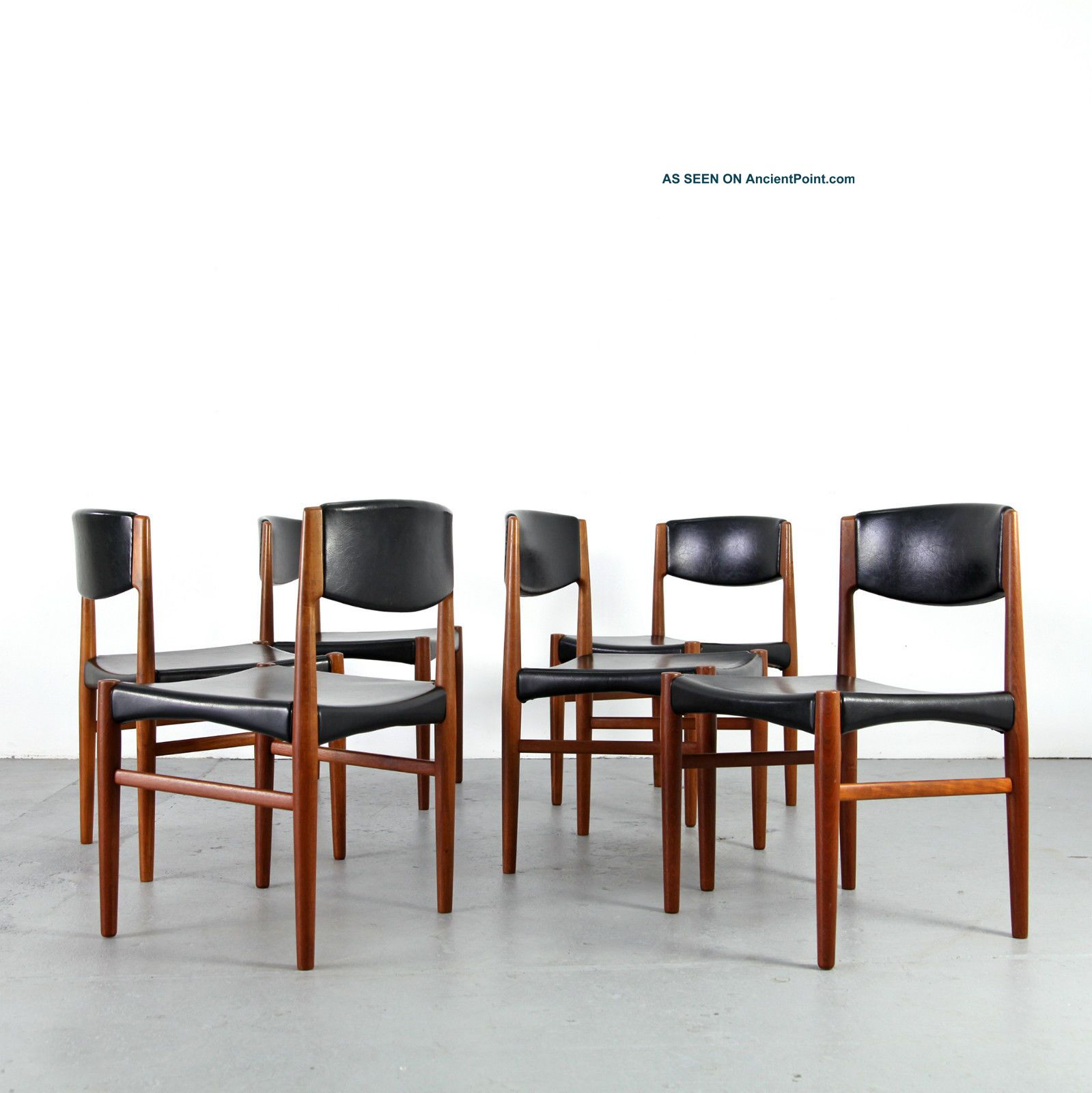 6 Mid Century Dining Chairs By Glostrup Denmark 60s Danish Modern
