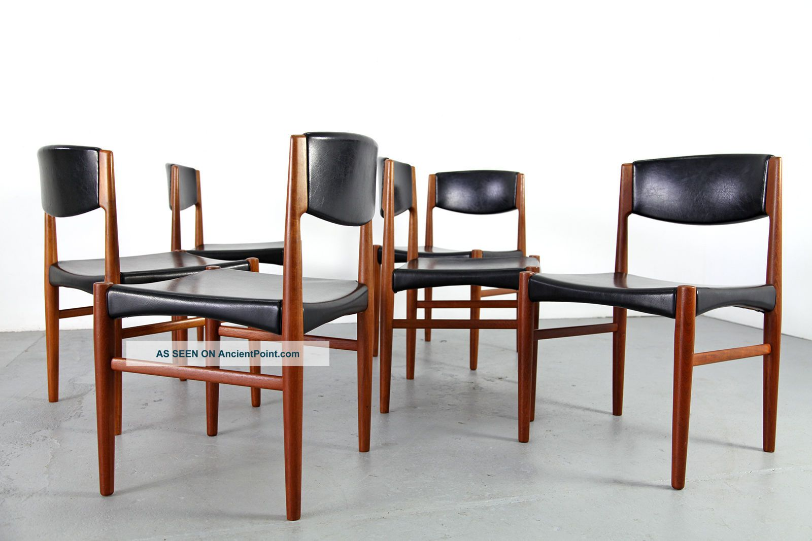 6 Mid Century Dining Chairs By Glostrup Denmark 60s Danish