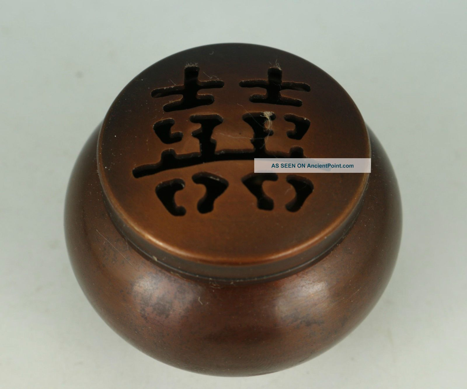 Ancient Chinese Old Bronze Hand Carved 囍 Blessing Incense Burner Buddha photo