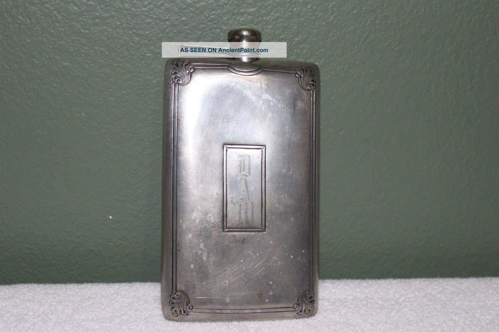 Antique Silverplate Ps Co.  Hip Flask Liquor Vintage Attached Cap 13 Oz No.  2401 Bottles, Decanters & Flasks photo