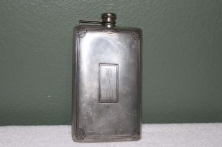 Antique Silverplate Ps Co.  Hip Flask Liquor Vintage Attached Cap 13 Oz No.  2401 photo