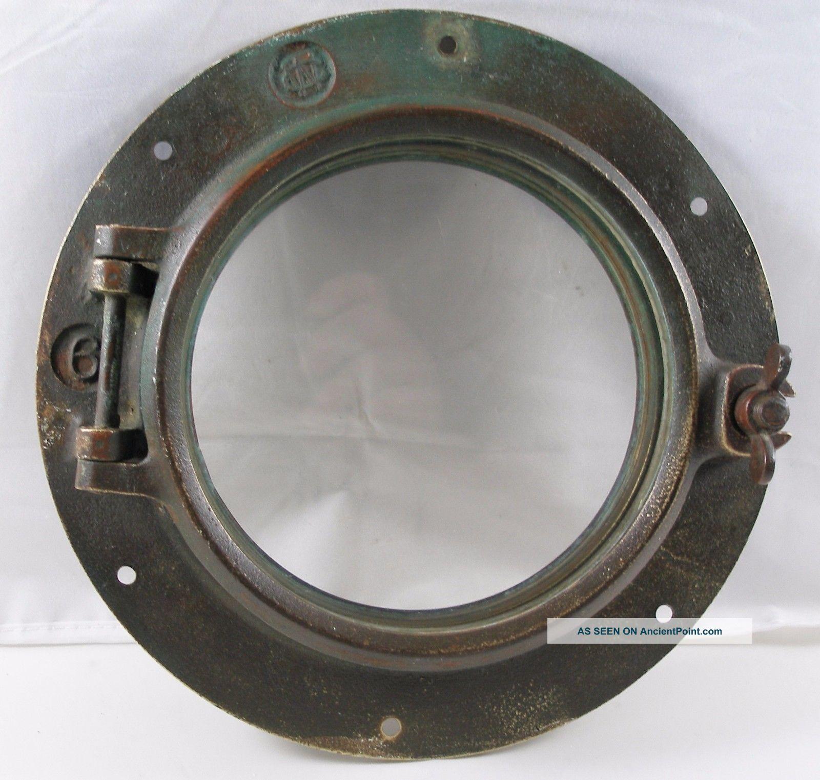 Antique Bronze Porthole,  Salvaged Porthole Nautical Wc 6 Porthole Portholes photo