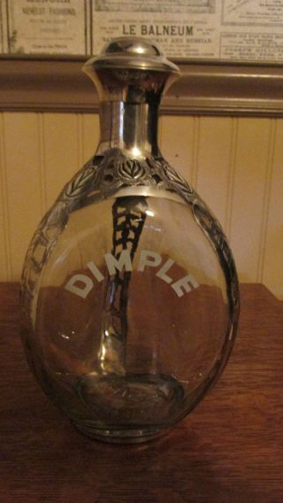 Antique Haig ' S Dimple Sterling Silver Overlay 3 Sided Decanter C1920 ' S photo