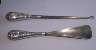 Henry Matthews Hallmarked 1927 Silver Handled Shoe Horn & Button Hook Birmingham photo