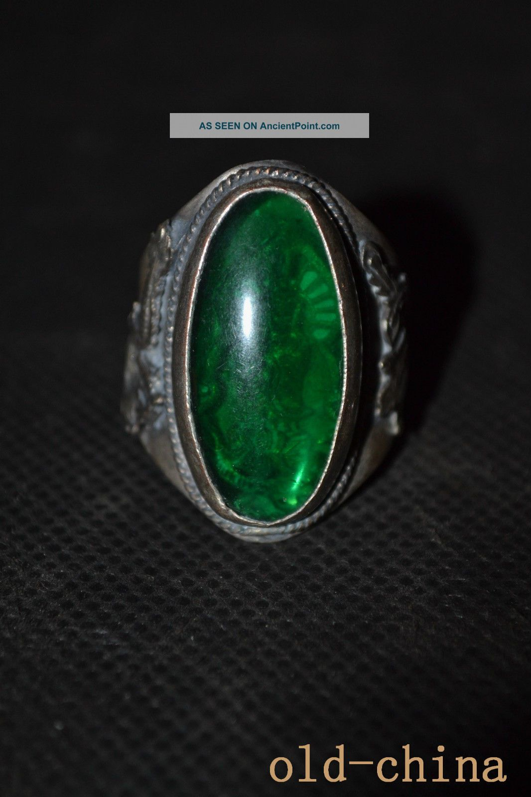 China Handwork Old Tibet Silver Carving Dragon Inlay Green Jade Kwan - Yin Ring Jade/ Hardstone photo