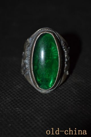 China Handwork Old Tibet Silver Carving Dragon Inlay Green Jade Kwan - Yin Ring photo