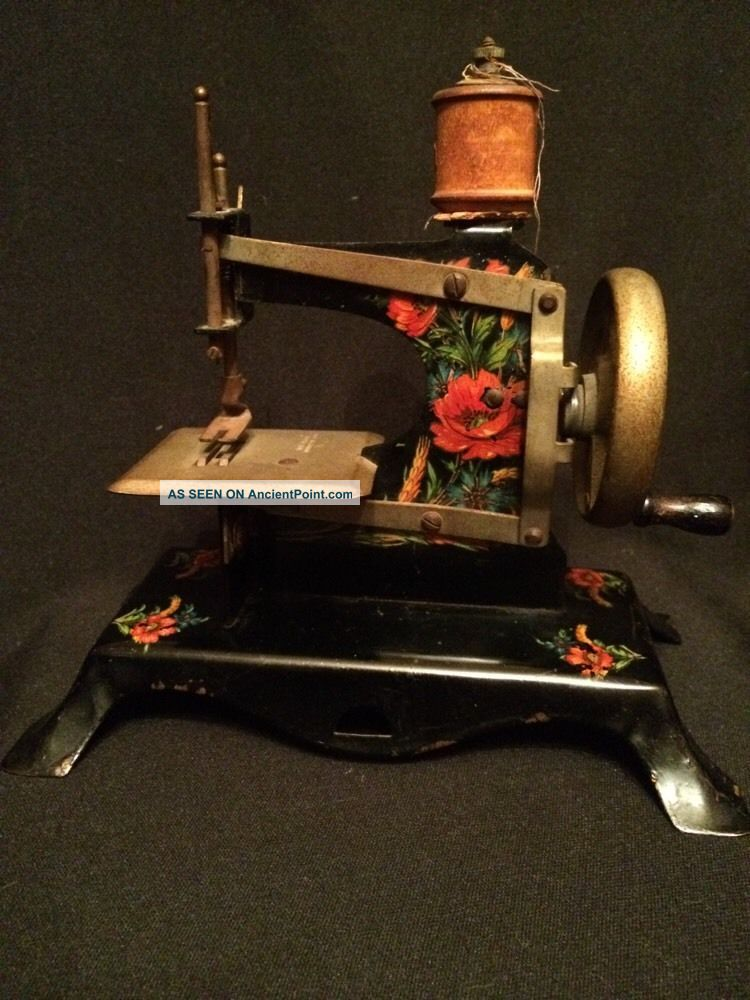 Antique Kids Metal Sewing Machine Made In Germany British Zone Floral Design Sewing Machines photo