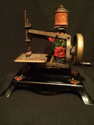 Antique Kids Metal Sewing Machine Made In Germany British Zone Floral Design photo