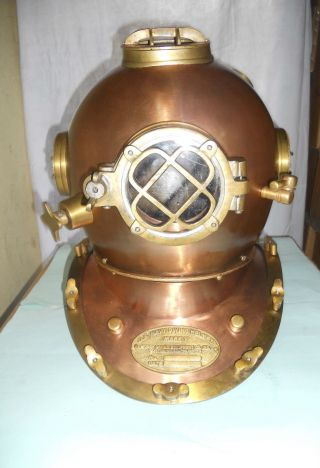 Steel Metal Mark V 18 Inch Copper Finish Us Navy Diving Helmet Divers Helmet photo
