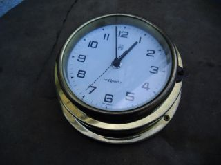 Vintage Nautical Large Clock Brass Philips Germany Dated Inside 28 July 1977 photo