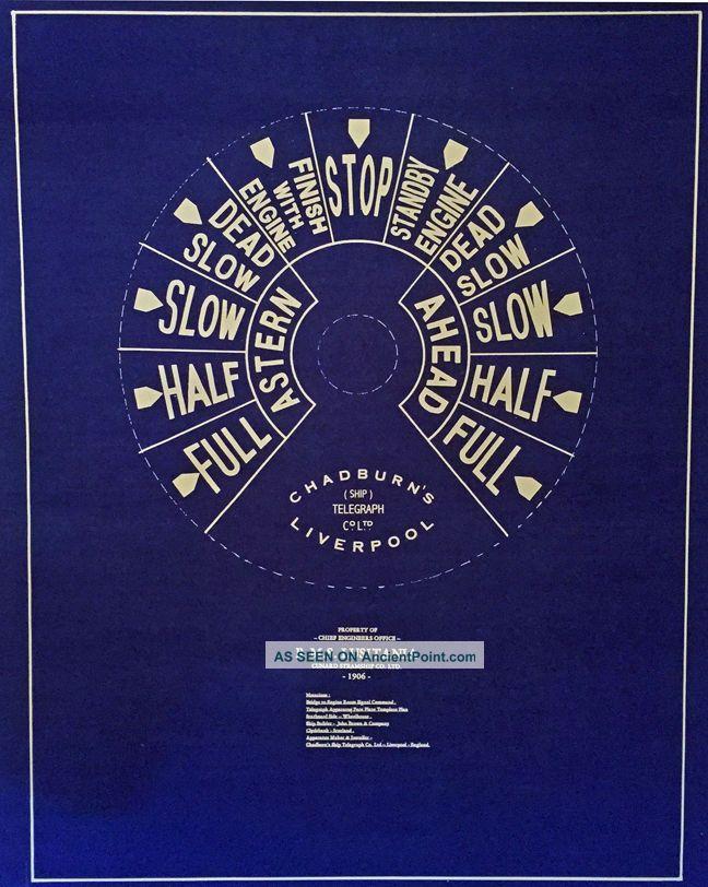 Chadburns Ships Telegraph Dial Rms Lusitania 1906 Blueprint Plan 20