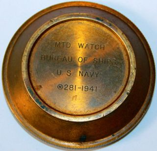 Mtd Watch Bureau Of Ships Us Navy 1941 Rear Cover From Wwii Ships Deck Clock photo