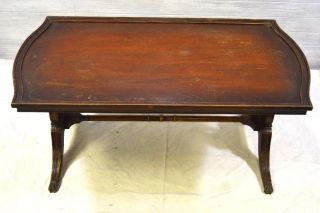 Antique Imperial Grand Rapids Furniture Mahogany Lyre Harp Coffee Table 1940 - 50s photo