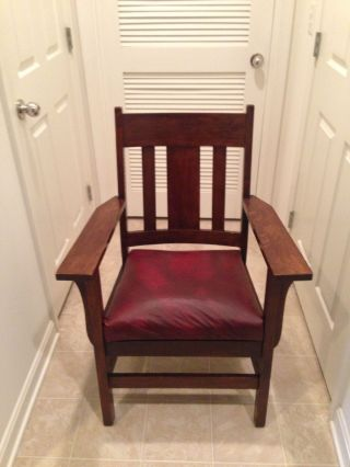 Antique Arts & Crafts Oak Mission Style Chair Early 1900 ' S photo