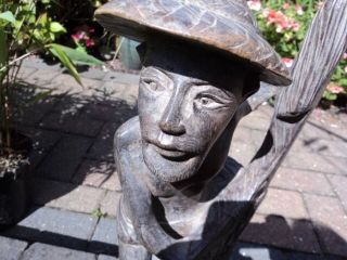 Mid 20th C.  Hand - Carved Fisherman Figure,  Collected On Java,  Indonesia In 1970 ' S photo